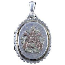Antique Victorian Silver Gold Flower Locket Circa 1880