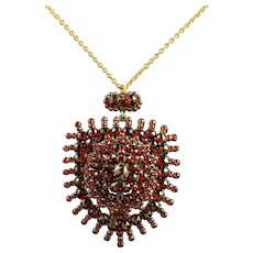 Antique Victorian Garnet Pendant Locket and Gold Chain Circa 1890