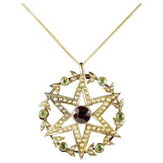 Antique Victorian 15ct Gold Suffragette Star Pendant and Chain Circa 1900