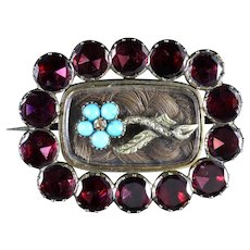 Antique Georgian Flat Cut Garnet Forget Me Not Turquoise Mourning Gold Brooch Circa 1790.