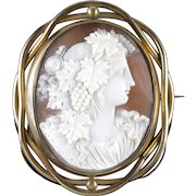 Antique Victorian Bacchante Cameo Mourning Swivel Brooch Circa 1860