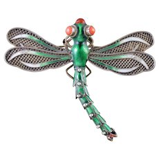 Antique Victorian Coral Enamel Silver Dragonfly Brooch Circa 1900