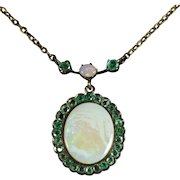 Antique Victorian Opal Emerald 9ct Gold Necklace Circa 1900