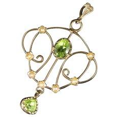 Victorian Peridot Pearl Pendant 9ct Gold
