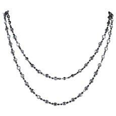 Antique Victorian Silver Chain Necklace Crystal Circa 1900