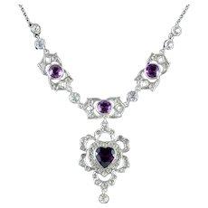 Antique Victorian Silver Paste Heart Lavaliere Necklace Circa 1900