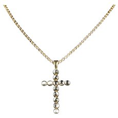 Antique Victorian Gold Moonstone Cross And Gold Necklace Circa 1900
