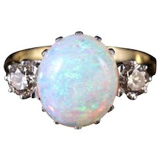 Antique Victorian Opal Diamond Ring 15ct Gold Natural Opal Circa 1900