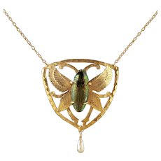 Antique Victorian Scarab Beetle Necklace 18ct Gold Silver Circa 1900