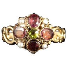 Antique Georgian Suffragette 18ct Ring Garnet Peridot Pearl Circa 1800