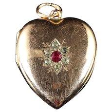 Antique Victorian Gold Heart Locket Ruby Paste Circa 1900