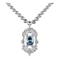Antique French Victorian Blue White Topaz Necklace Collar Boxed Circa 1900