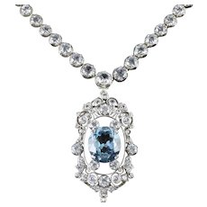 Antique French Victorian Blue White Topaz Necklace Collar Boxed Circa 1900