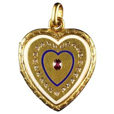 Antique Georgian Diamond Ruby Enamel 18ct Gold Heart Locket Pendant Circa 1830