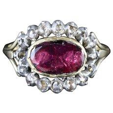 Antique Georgian Flat Cut Garnet Diamond Ring Circa 1750