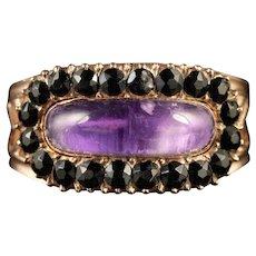 Antique Georgian 18ct Gold Amethyst Sapphire Ring Circa 1800