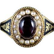 Antique Georgian Gold Garnet Pearl Mourning Ring