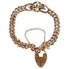 Antique Victorian Suffragette Bracelet Heart Padlock Circa 1900