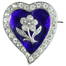 Georgian Blue Paste Silver Witches Heart Brooch