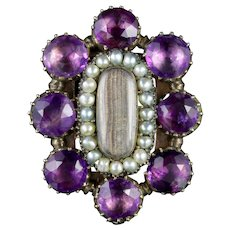 Antique Georgian Mourning Ring Amethyst Pearl Circa 1800