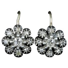 Antique Georgian Diamond Earrings 18ct Silver Circa 1820