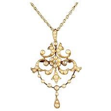 Antique Victorian Pearl Diamond 15ct Gold Pendant Brooch Necklace Circa 1900