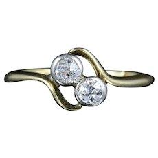 Antique Edwardian Diamond Twist Ring Circa 1915 18ct Gold
