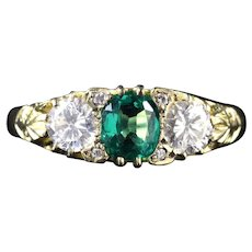 Antique Victorian Emerald Diamond Ring 18ct Circa 1880