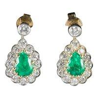 Emerald Diamond Drop Earrings 18ct Gold