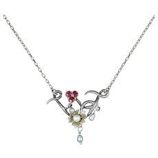 Antique Ruby Pearl Necklace Art Nouveau Silver 9ct Gold