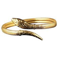 Antique Victorian Snake Bangle 18ct Gold Circa 1900