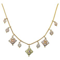 Antique Victorian Micro Mosaic Necklace 18ct Gold Gilt Circa 1895