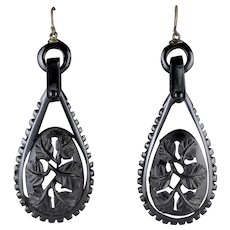 Antique Victorian Whitby Jet Earrings Circa 1900