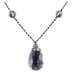 Antique Arts and Crafts Necklace Victorian Rock Crystal Pendant Circa 1900