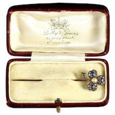 Victorian Sapphire Diamond Pin 18ct Shamrock Circa 1880