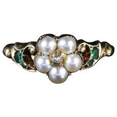 Georgian Emerald DiamondPearl Ring 18ct Circa 1800