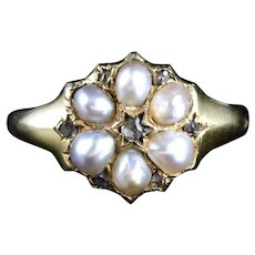 Victorian Pearl Diamond Ring Circa 1900