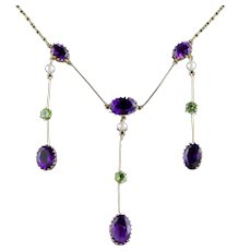Antique Victorian Suffragette Necklace 18ct Gold Amethyst Droppers Circa 1900