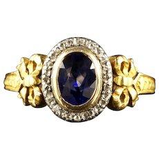 French Victorian Sapphire Diamond 18ct Ring Circa 1900