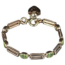 Antique Victorian Peridot Gate Bracelet 9ct Rose Gold Circa 1890