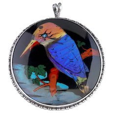 Antique Victorian Kingfisher Pendant Brooch Butterfly Wing Circa 1900