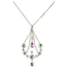 Victorian Aquamarine Pink Sapphire 18ct Necklace Circa 1900