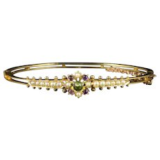 Antique Victorian Suffragette Bangle Amethyst Peridot Pearl 15ct Gold