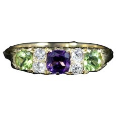 Antique Victorian Suffragette Ring 18ct Gold Amethyst Diamond Peridot Circa 1900