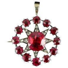 Antique Victorian Star Pendant Brooch Ruby Diamond Gold Circa 1900