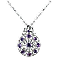 Antique Victorian Amethyst Marcasite Necklace Silver