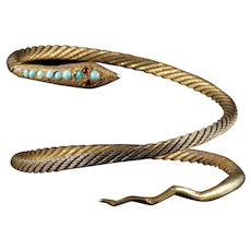 Antique French Snake Bangle Turquoise Garnet Silver Gilt Circa 1900