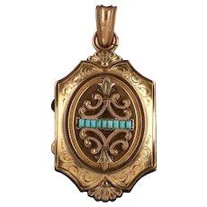 Antique Victorian Turquoise Locket Gold Gilt Circa 1890