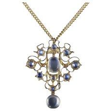 Antique Victorian Moonstone Pendant Necklace 18ct Gold Silver Circa 1880