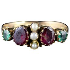 Antique Georgian Ring Garnet Emerald Pearl 15ct Gold Circa 1800